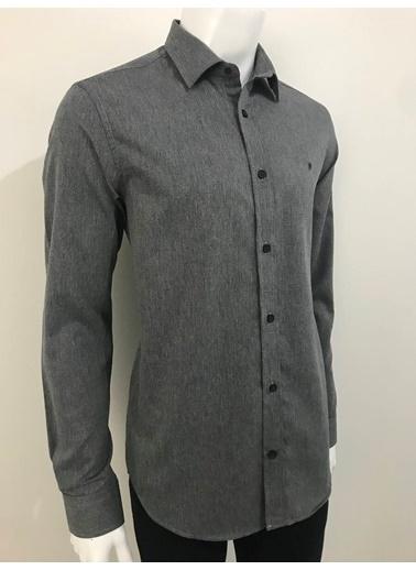 Abbate Baharlık Armürlü Slımfıt Casual Gömlek Antrasit